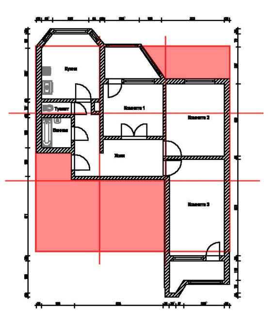Полностью и частично отсутствующие дворцы (обозначены красным)